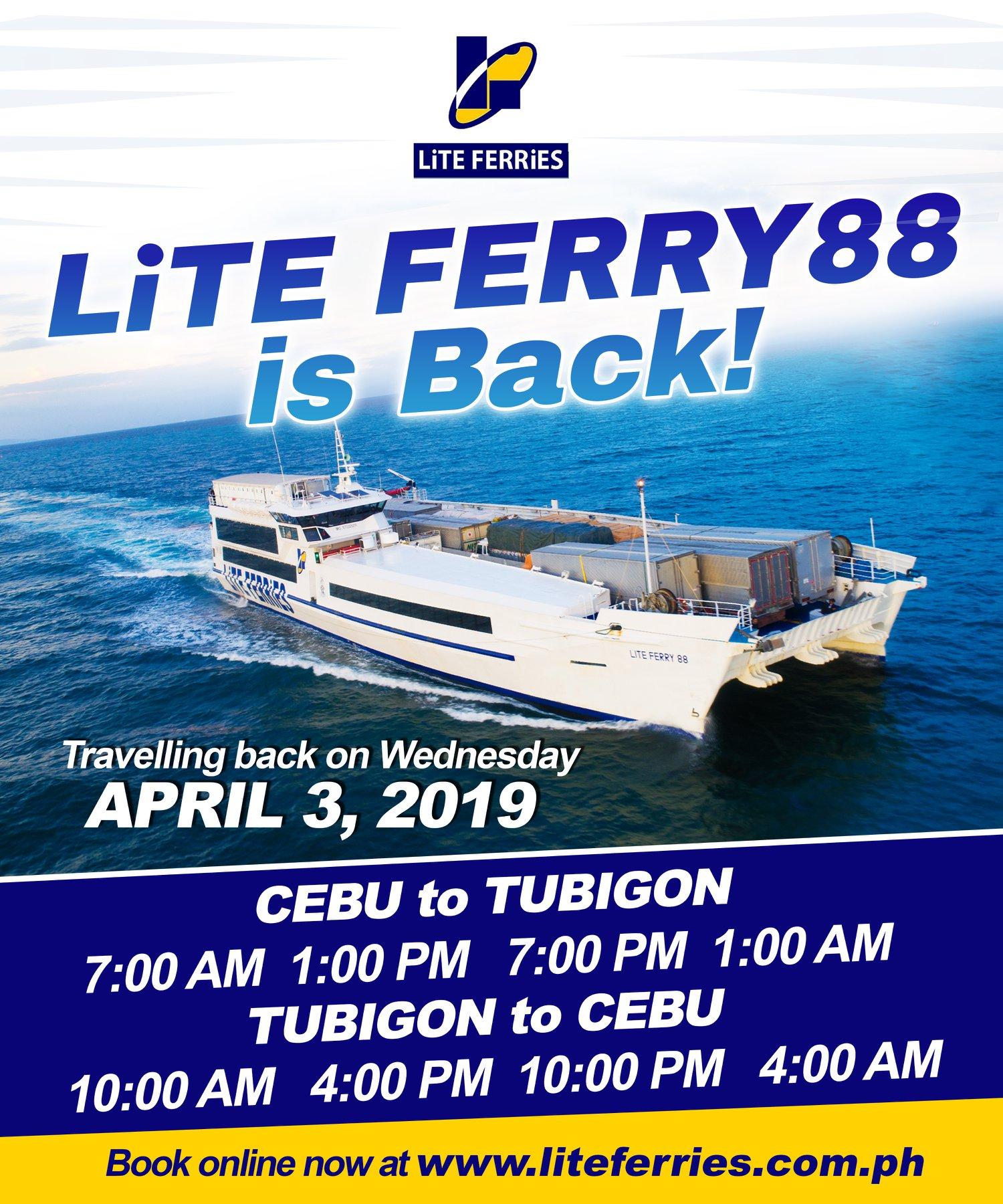 2019 Cebu – Tubigon: Lite Ferries Boat Schedules, Fares & Booking