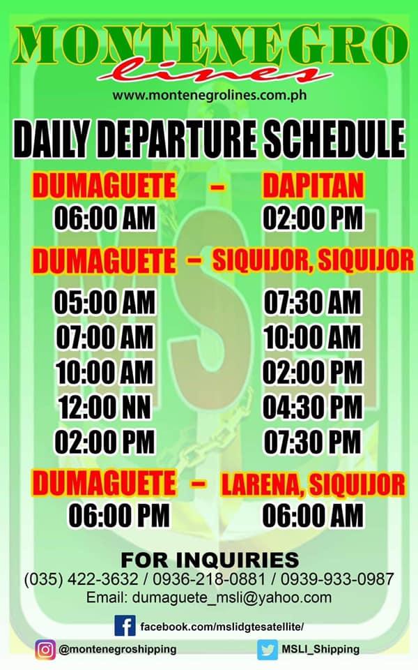 Montenegro Lines Dumaguete-Dapitan Ferry Schedules