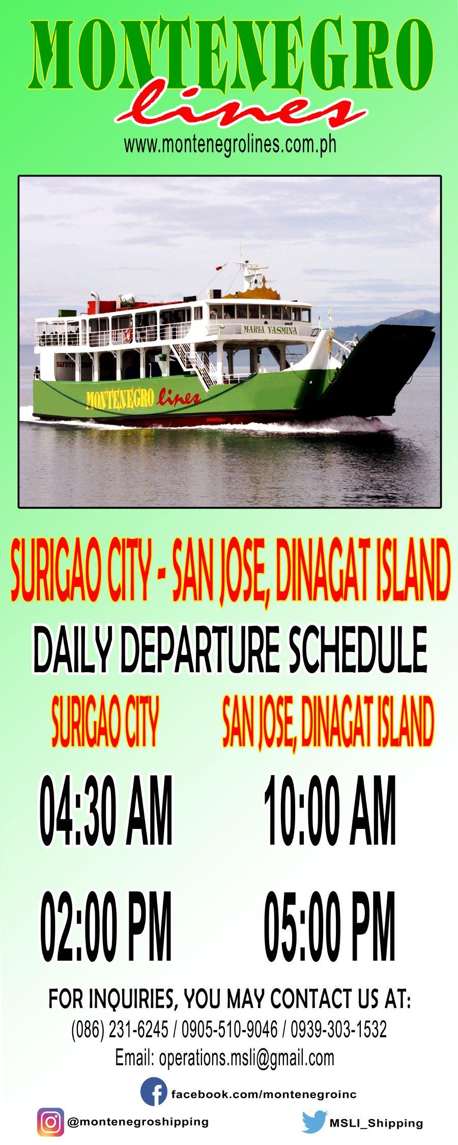 Montenegro Lines Surigao City-San Jose, Dinagat Island Ferry Schedule