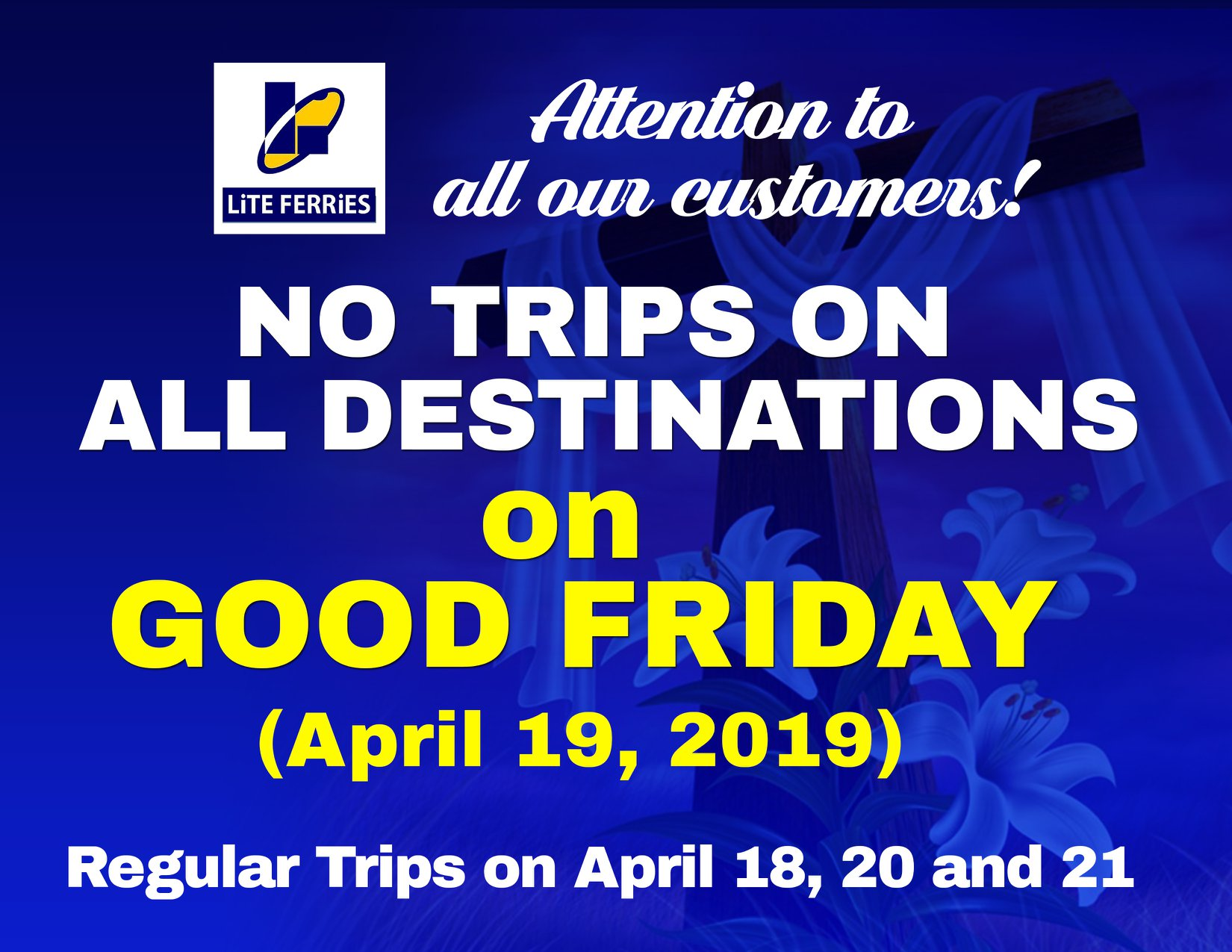 No trips for Lite Ferry on 'Good Friday'