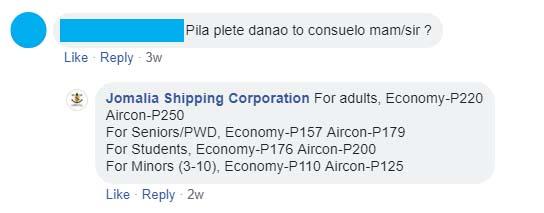 Jomalia Shipping Danao-Consuelo Fare