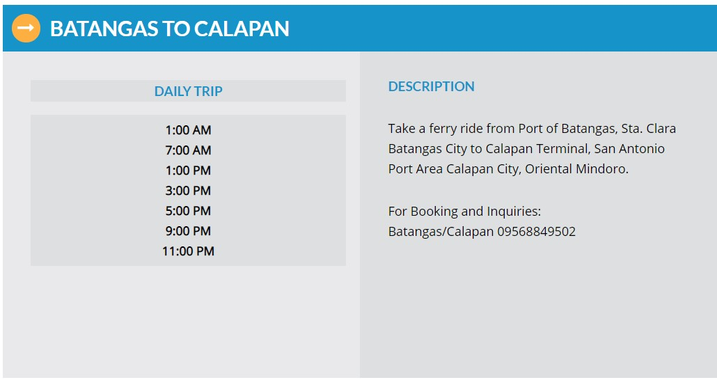 Starlite Ferries Batangas to Calapan Ferry Schedule