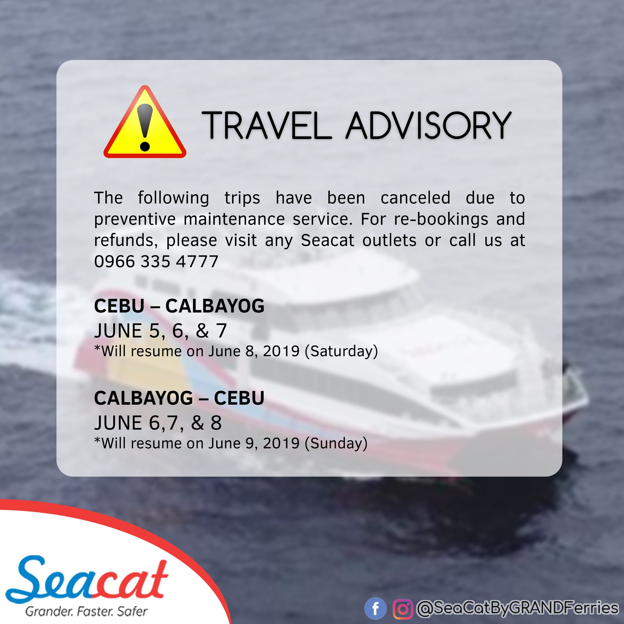 SeaCat issues dates of canceled trips for Preventive Maintenance Service