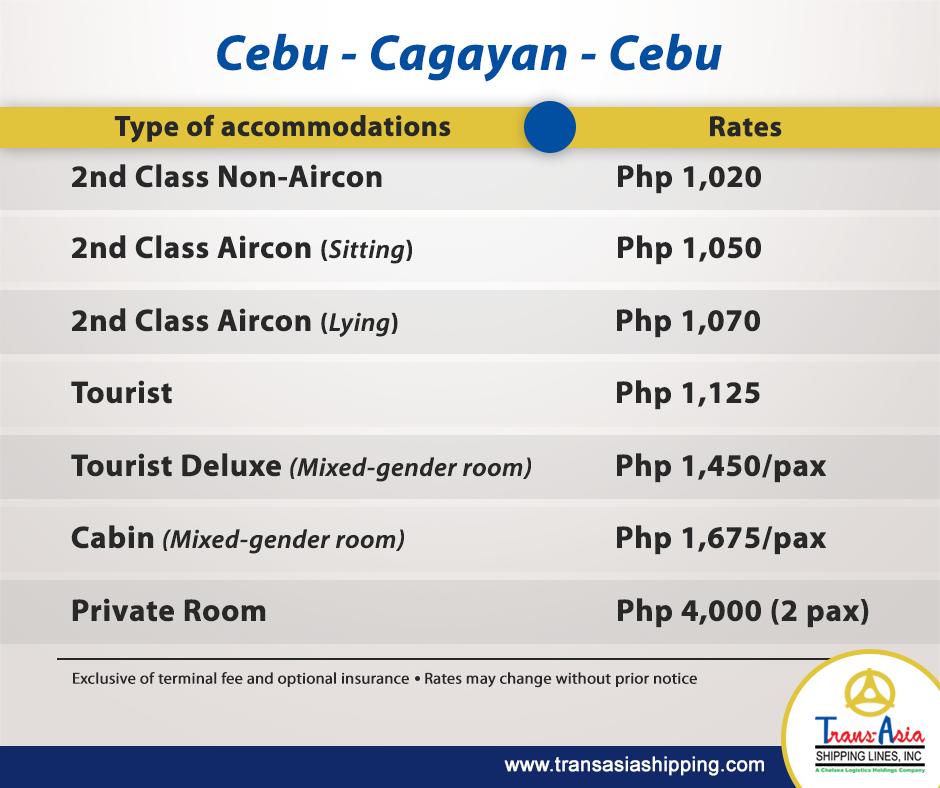 Trans-Asia Cebu-Cagayan Passenger Fare