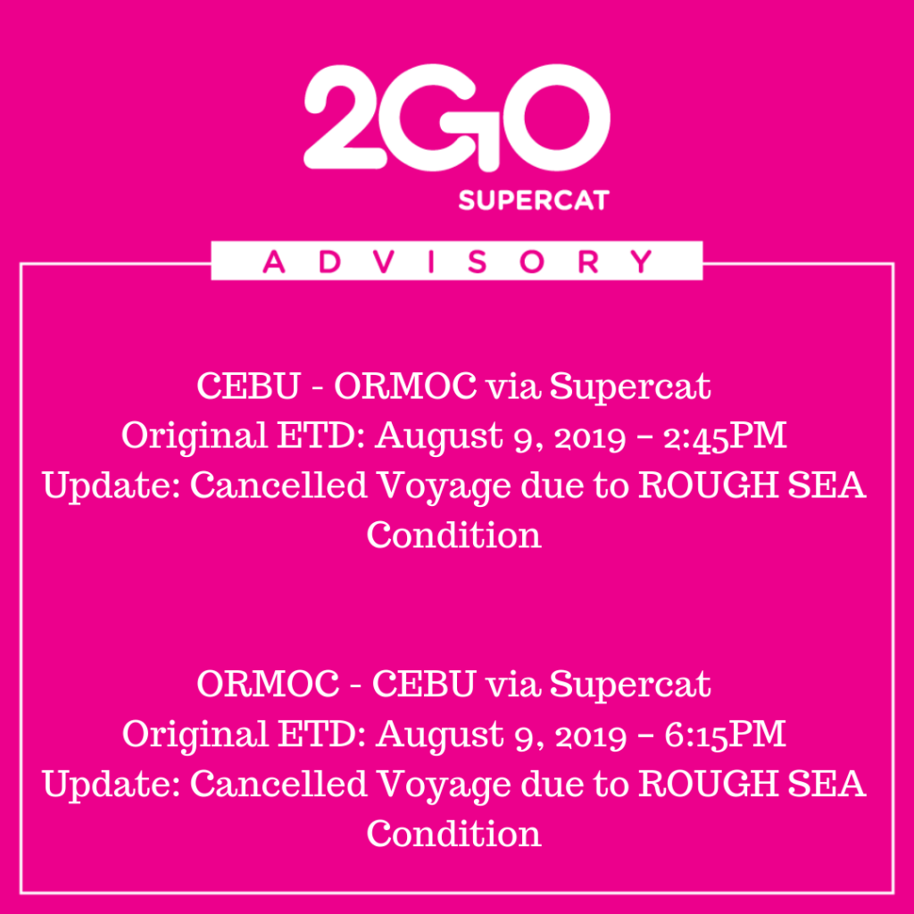 Canceled trips of 2GO SuperCat for August 9