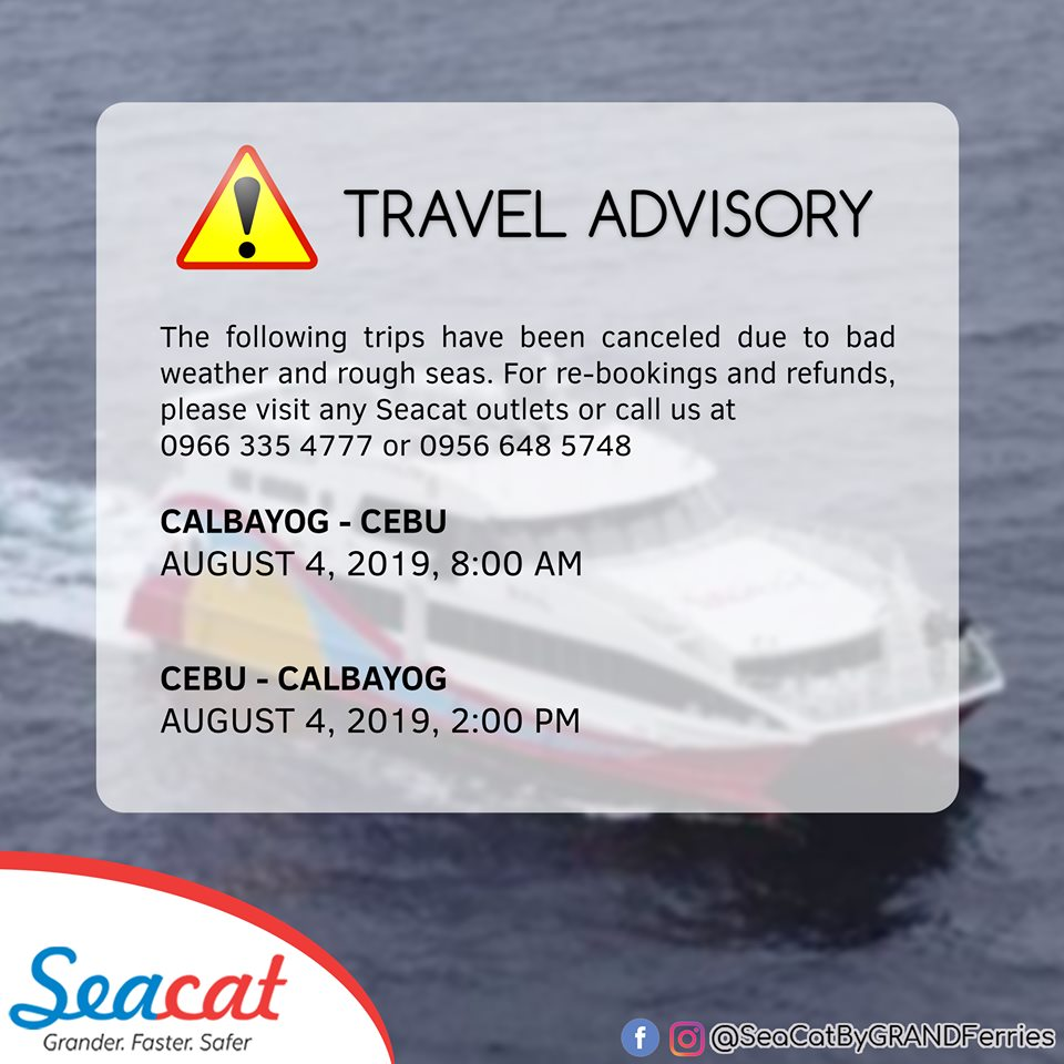 Canceled trips by SeaCat for August 4