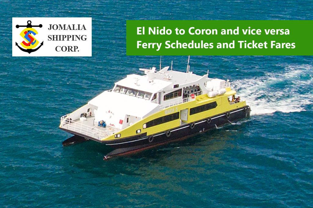 El Nido to Coron and v.v.: Jomalia Shipping Schedule & Fares