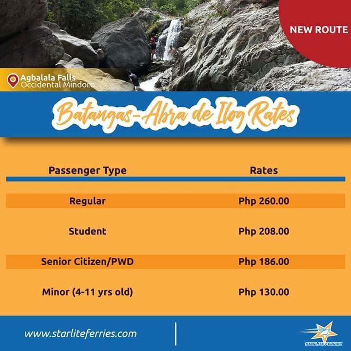Starlite Ferries Batangas-Abra de Ilog Fares