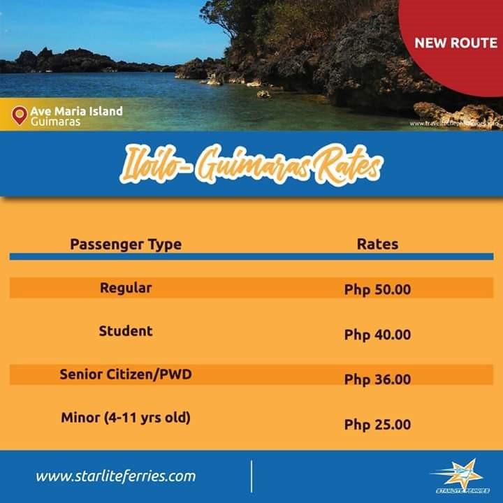 Starlite Ferries Iloilo-Guimaras Fares
