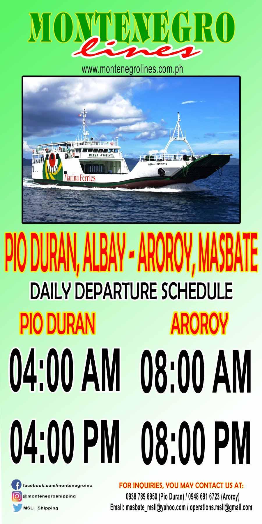 Montenegro Lines Pio Duran-Aroroy Ferry Schedule