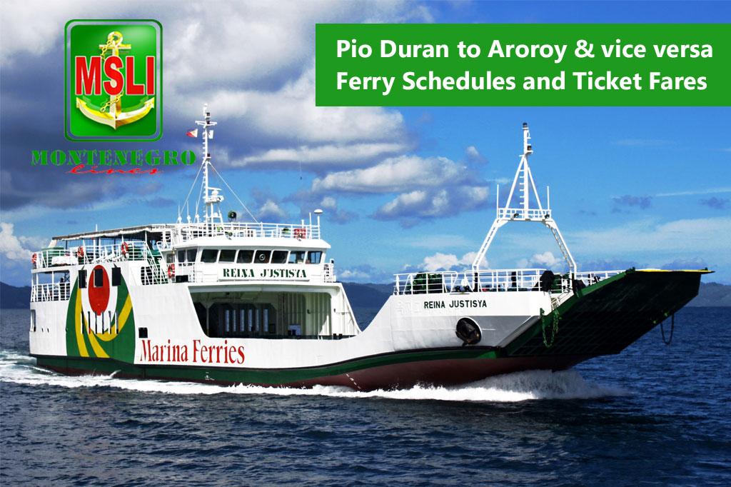 2020 Montenegro Lines Pio Duran-Aroroy: Schedule & Ticket Fares