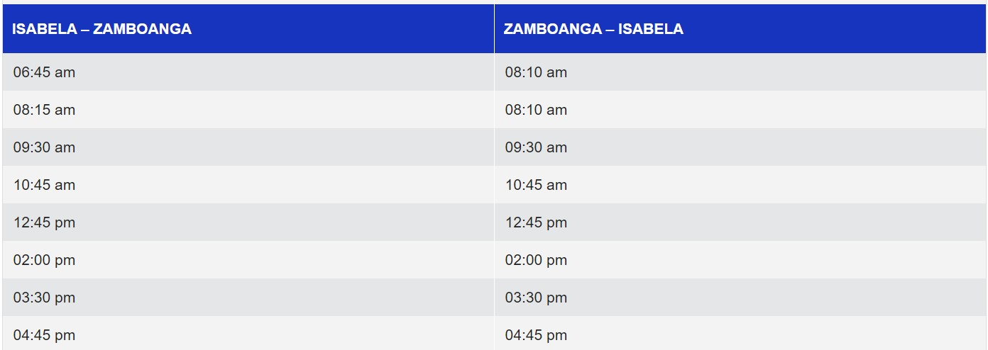 Weesam Express Isabela-Zamboanga Ferry Schedule
