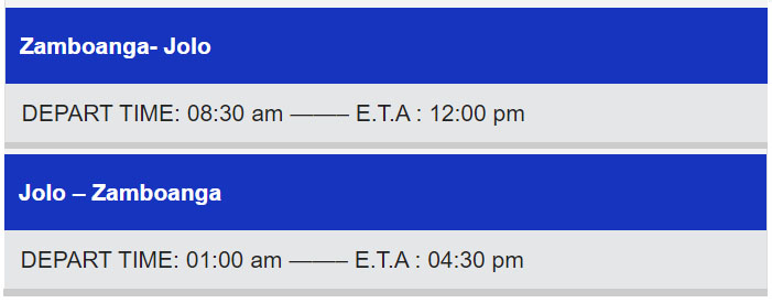 Weesam Express Zamboanga-Jolo Ferry Schedule