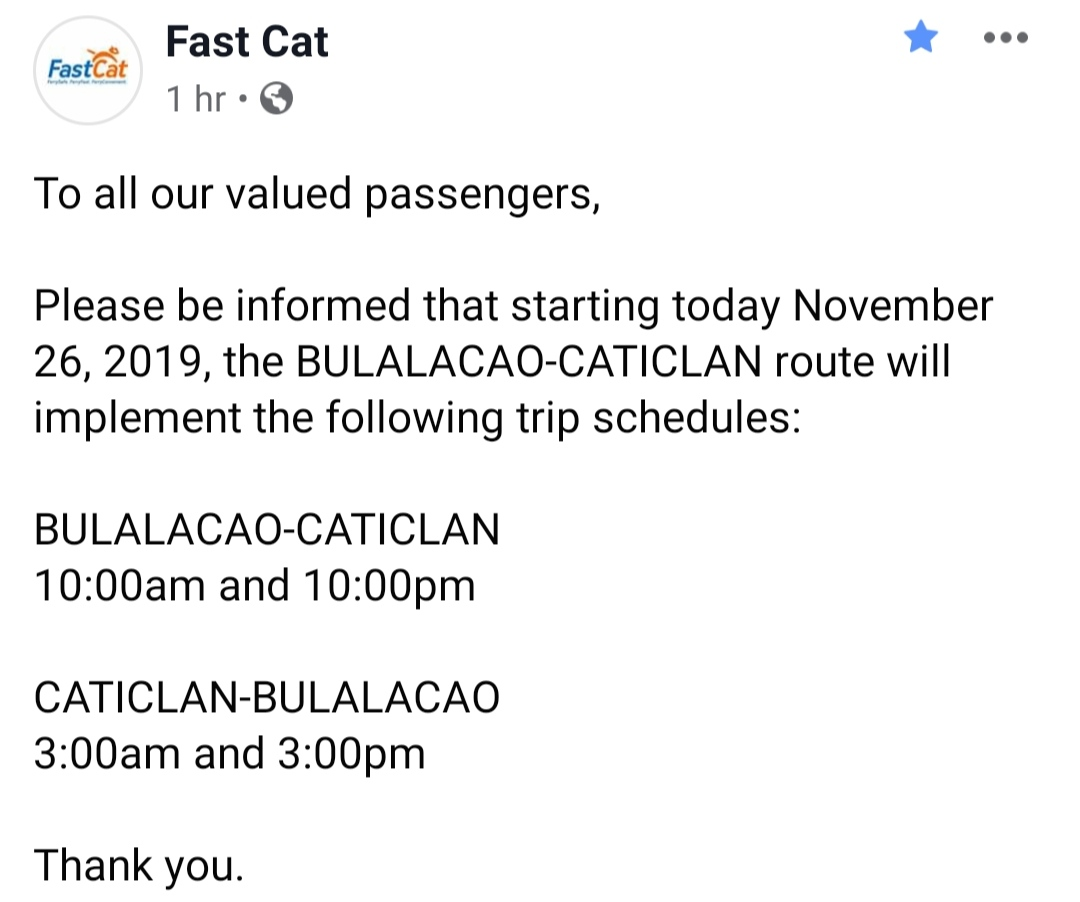 FastCat Bulalacao-Caticlan Ferry Schedule