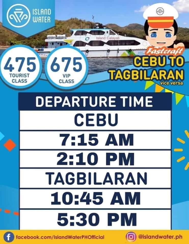 Island Water Cebu-Tagbilaran Ferry Schedule and Fares