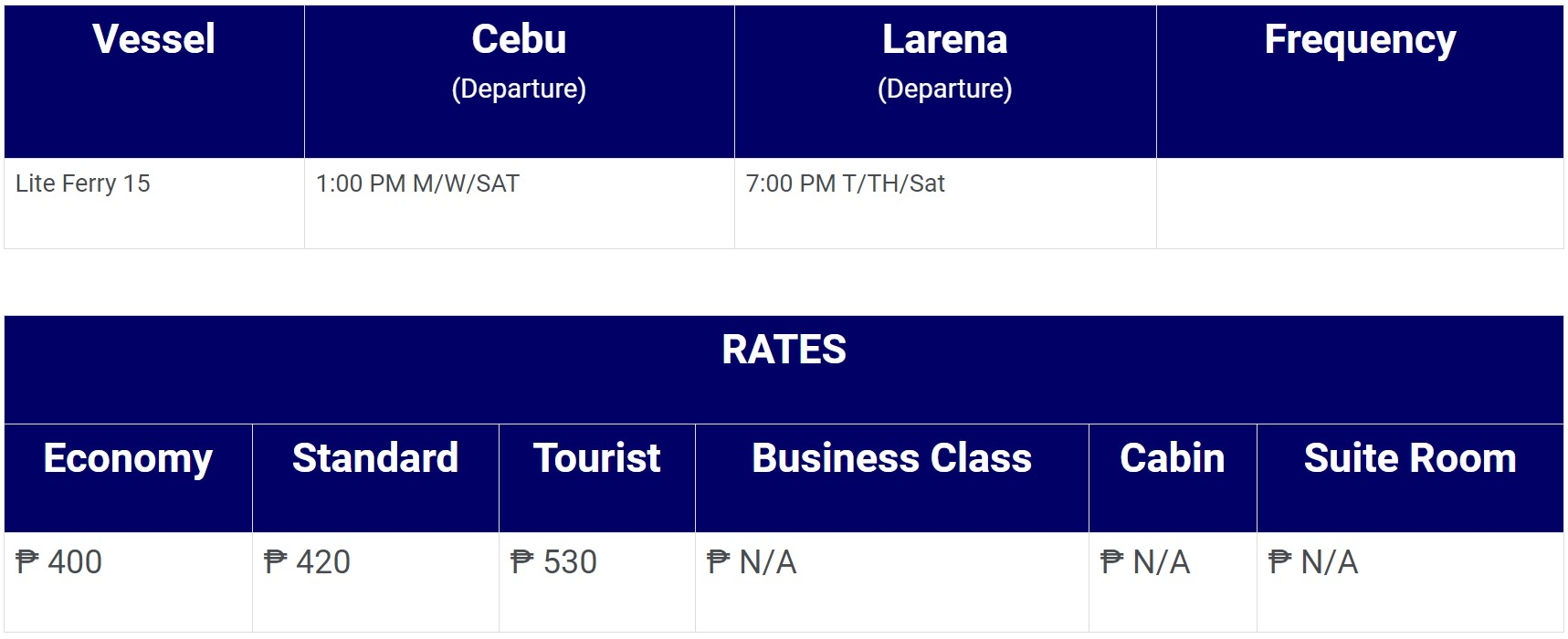Lite Ferries Cebu-Larena Schedule and Fare Rates
