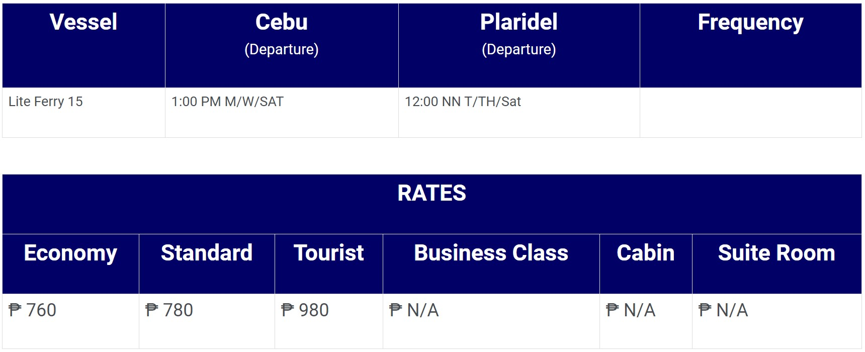 Lite Ferries Cebu-Plaridel Schedule and Fares