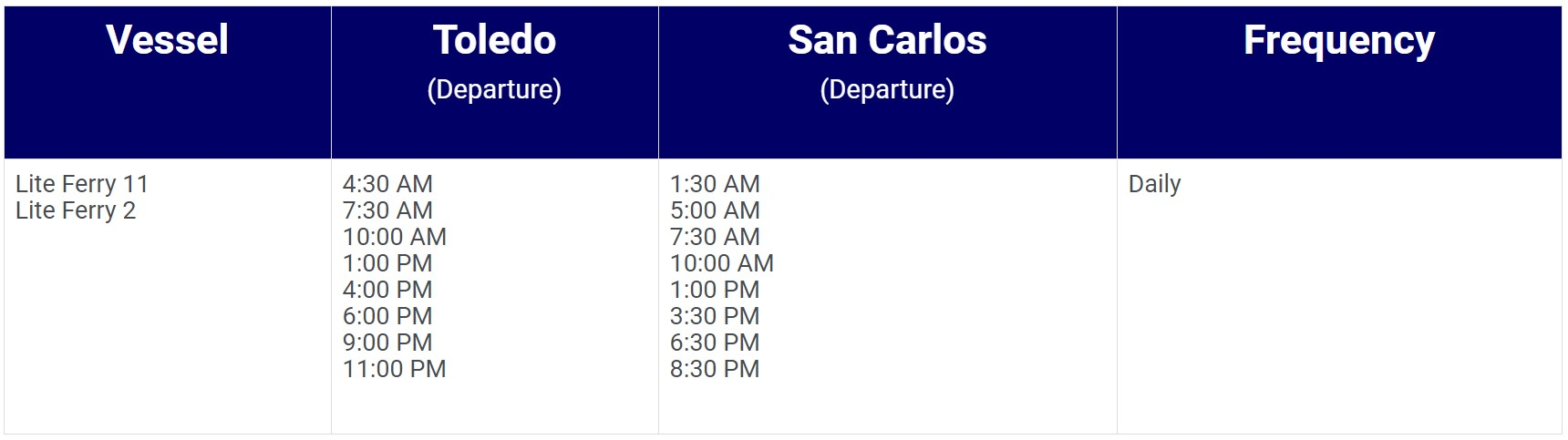 Lite Ferries San Carlos-Toledo Ferry Schedules