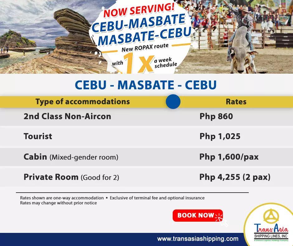 Trans-Asia Cebu-Masbate Accommodations and Fare Rates