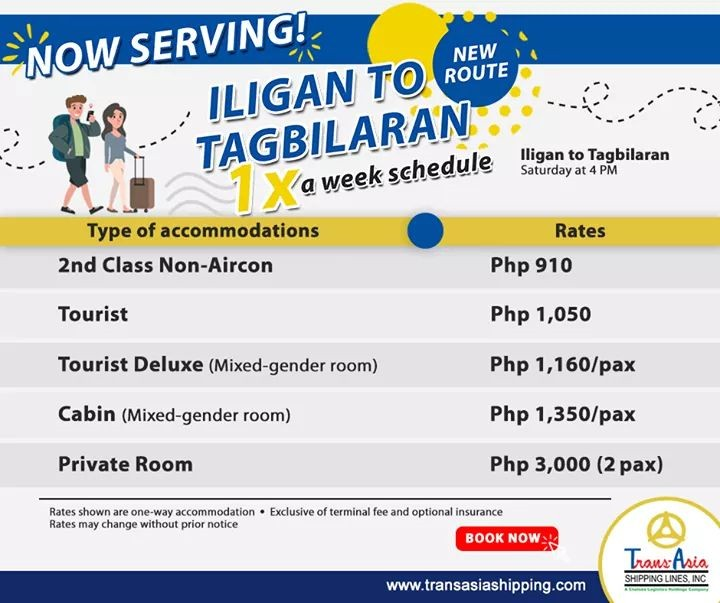 Trans-Asia Iligan to Tagbilaran Schedule and Fares