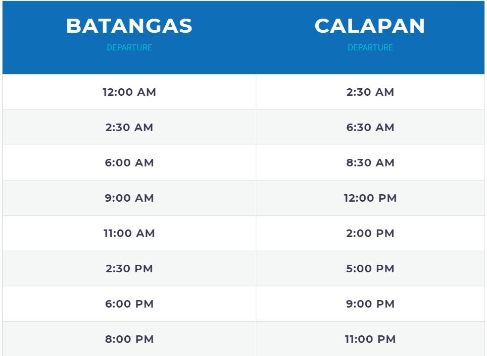 FastCat Batangas-Calapan Ferry Schedule