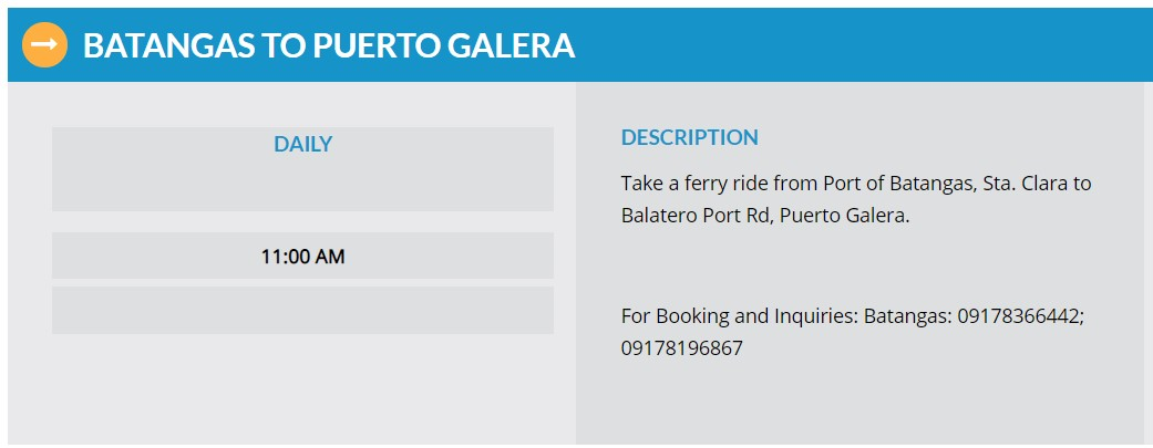 Starlite Ferries Batangas to Puerto Galera Ferry Schedule