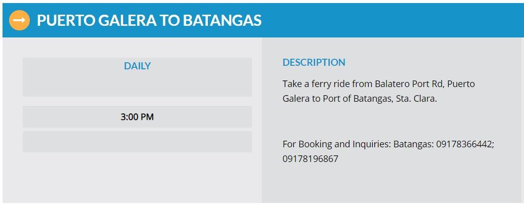 Starlite Ferries Puerto Galera to Batangas Ferry Schedule