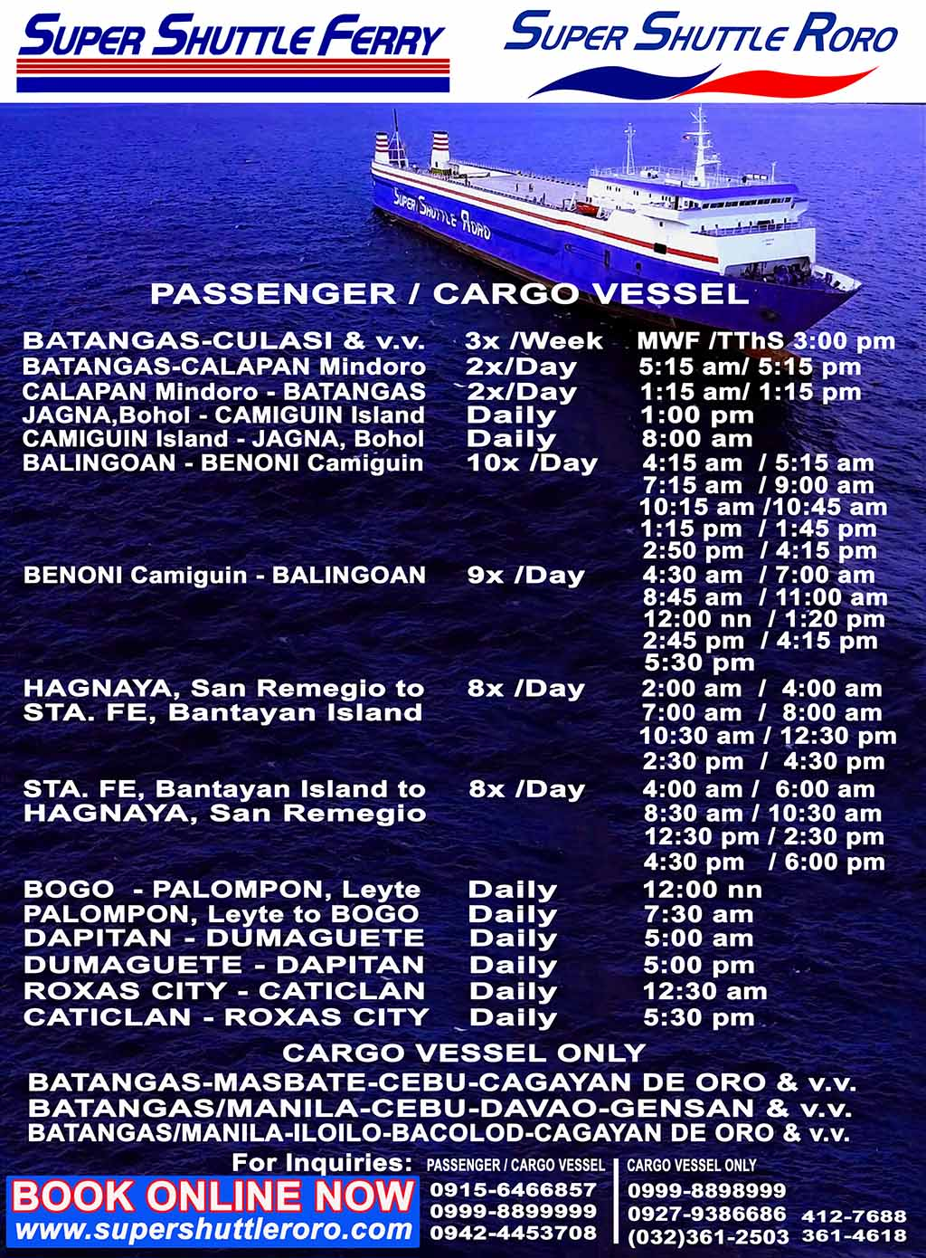 Super Shuttle RORO Ferry Schedule