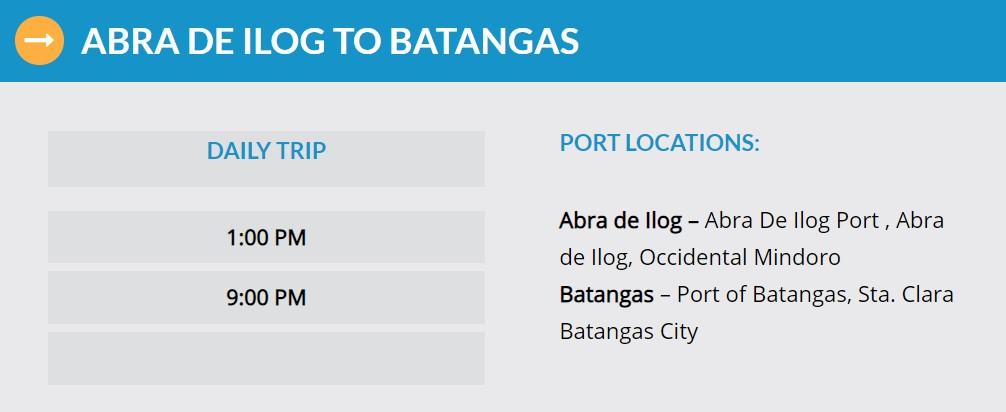 Starlite Ferries Abra de Ilog to Batangas Ferry Schedule