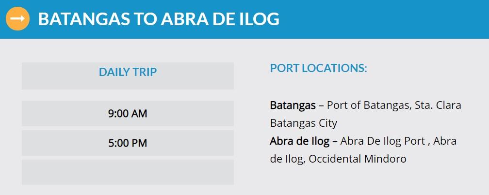 Starlite Ferries Batangas to Abra de Ilog Ferry Schedule