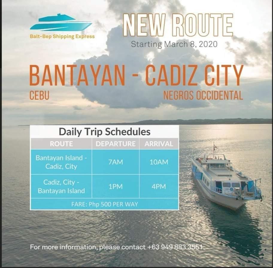 Balt-Bep Shipping Express Bantayan Island-Cadiz City Ferry Schedule