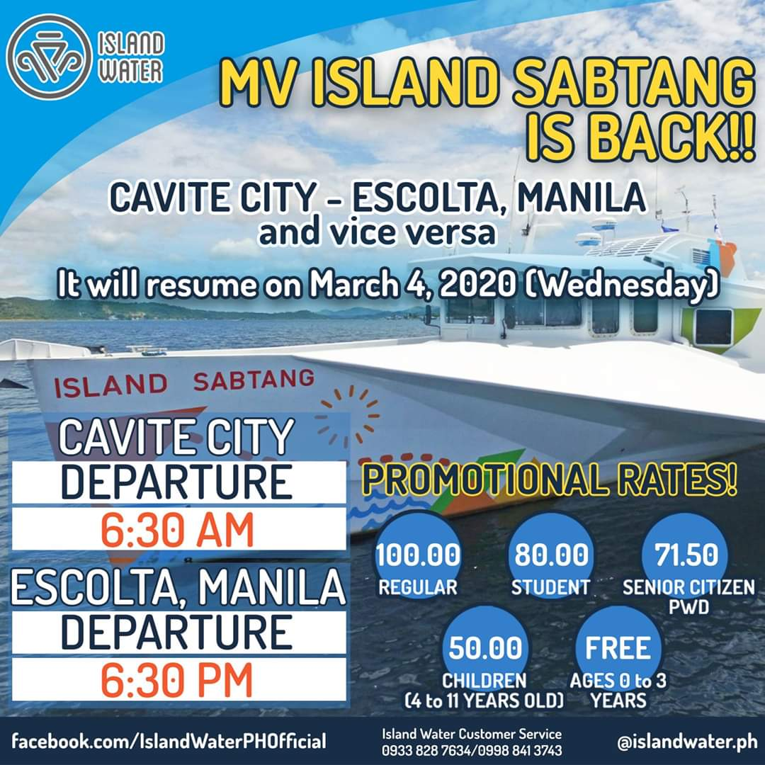 Island Water Cavite-Escolta Ferry Schedules and Fare Rates