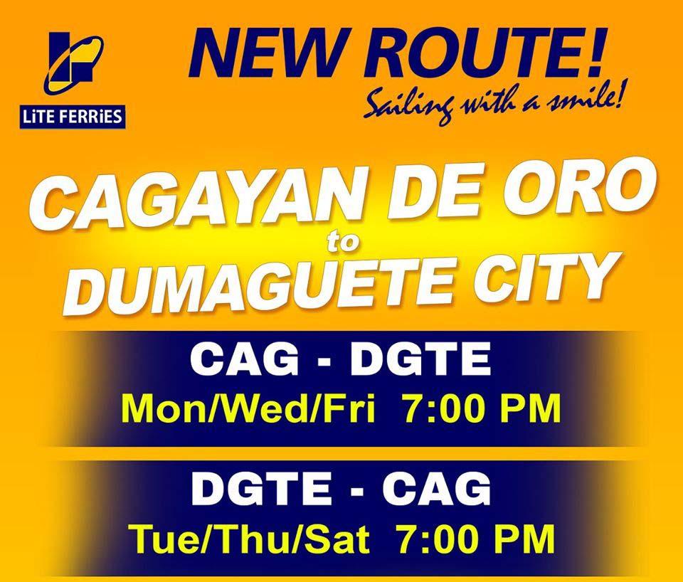 Lite Ferries Cagayan de Oro-Dumaguete Ferry Schedule