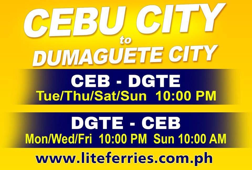 Lite Ferry Cebu-Dumaguete Ferry Schedules