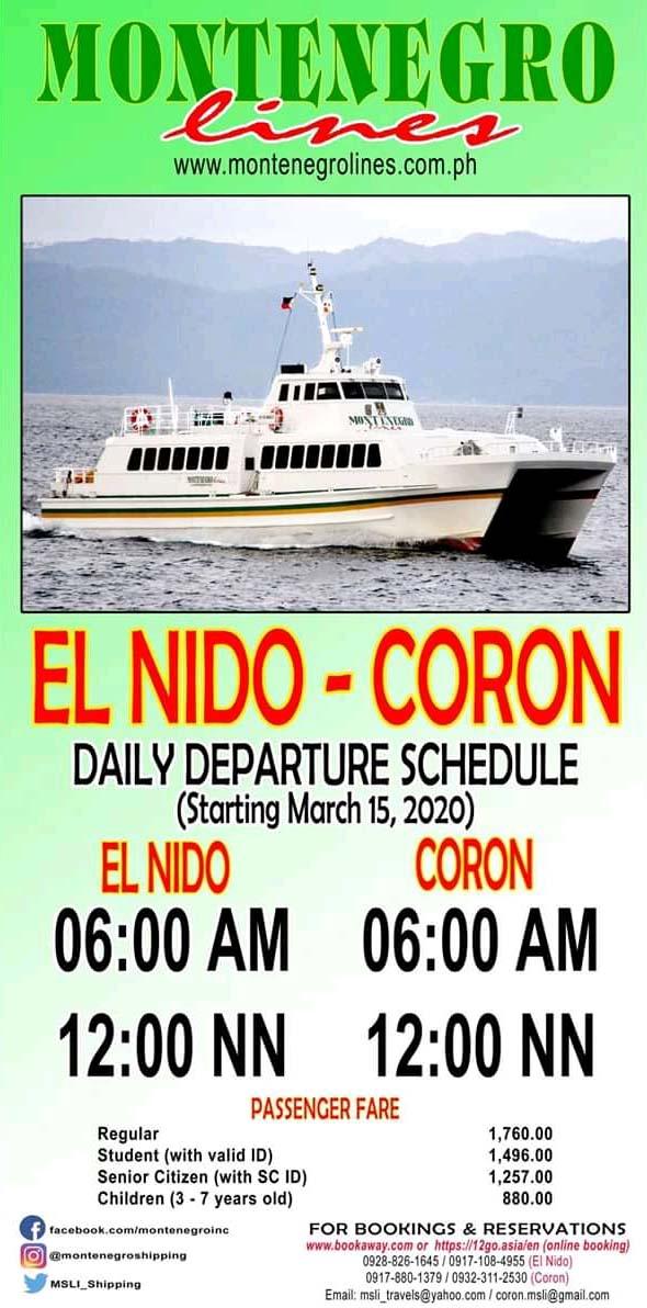 Montenegro Lines El Nido-Coron Ferry Schedule and Fares
