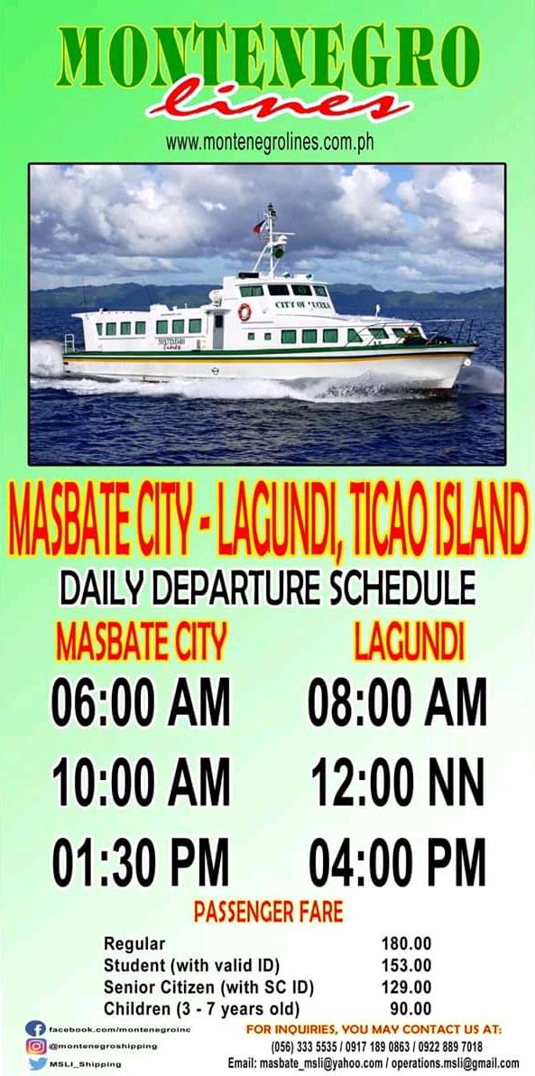 Montenegro Lines Masbate-Lagundi Ferry Schedules and Fares