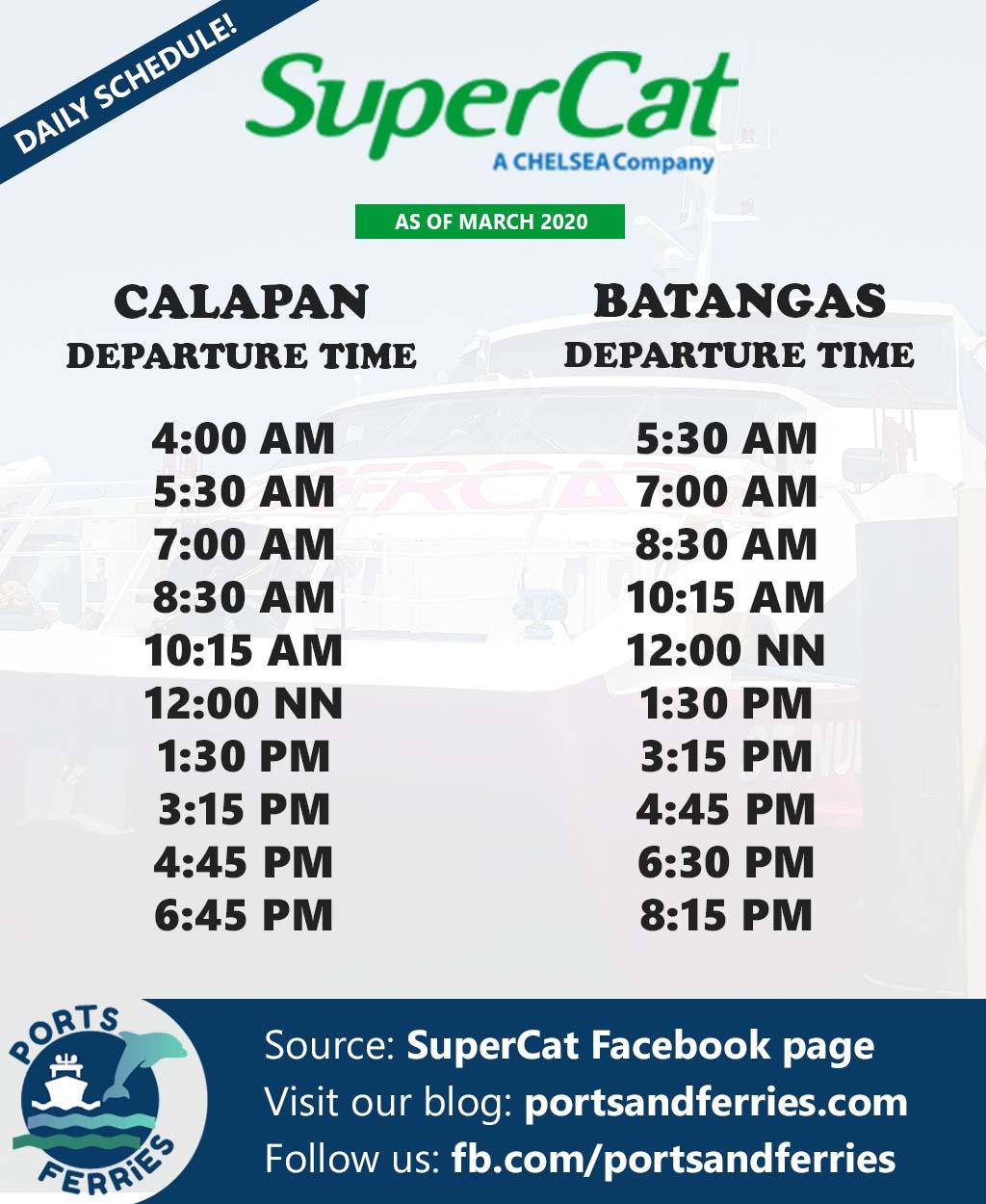 SuperCat Calapan-Batangas Ferry Schedule