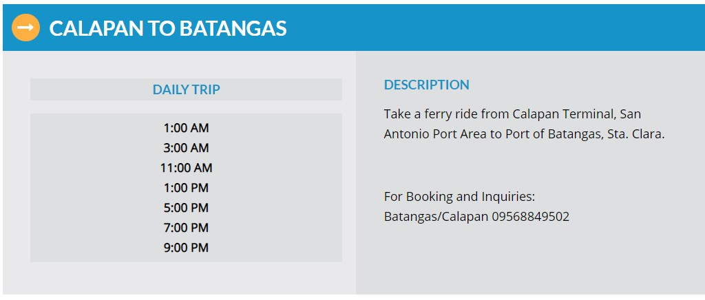 Starlite Ferries Calapan to Batangas Ferry Schedule