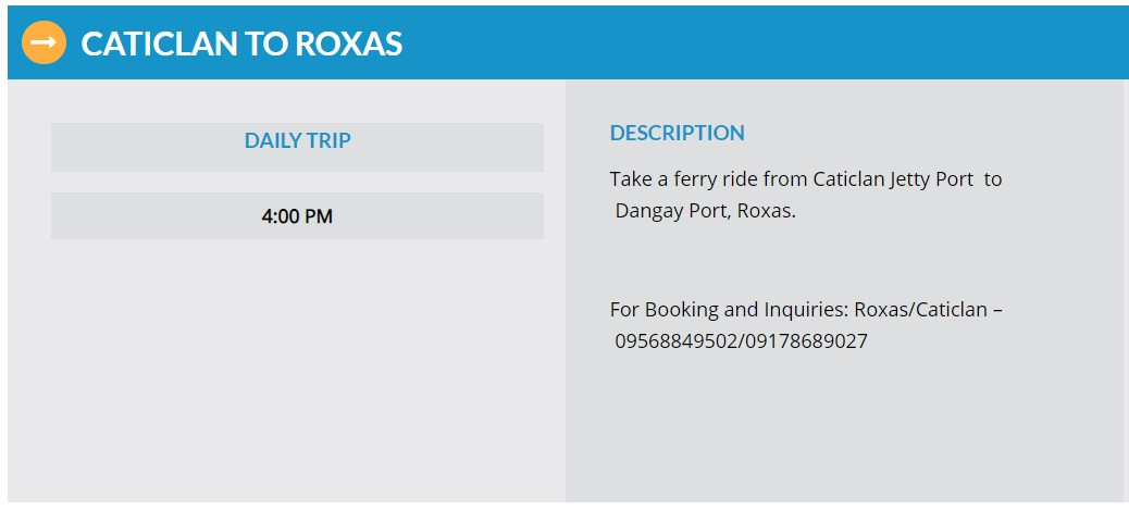 Starlite Ferries Caticlan to Roxas Ferry Schedule