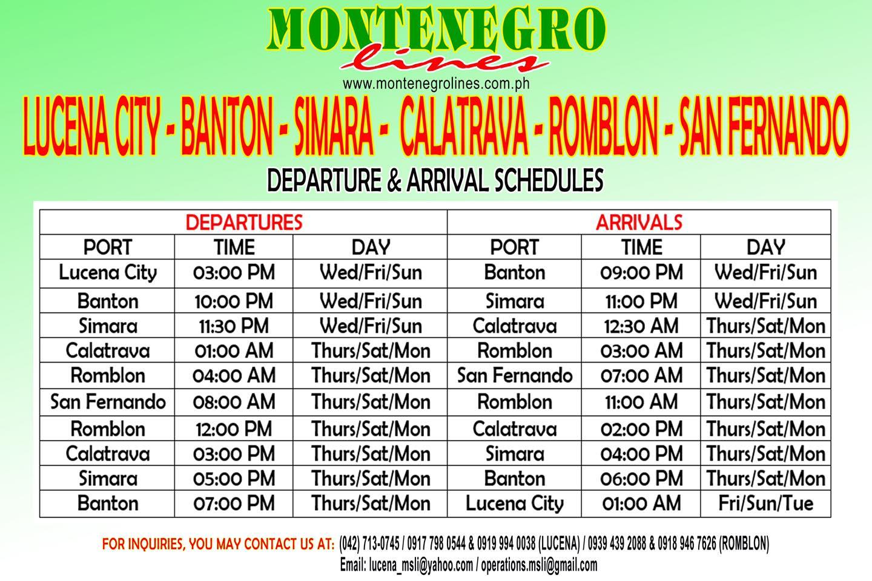 Montenegro Lines Lucena-Banton Romblon Ferry Schedule