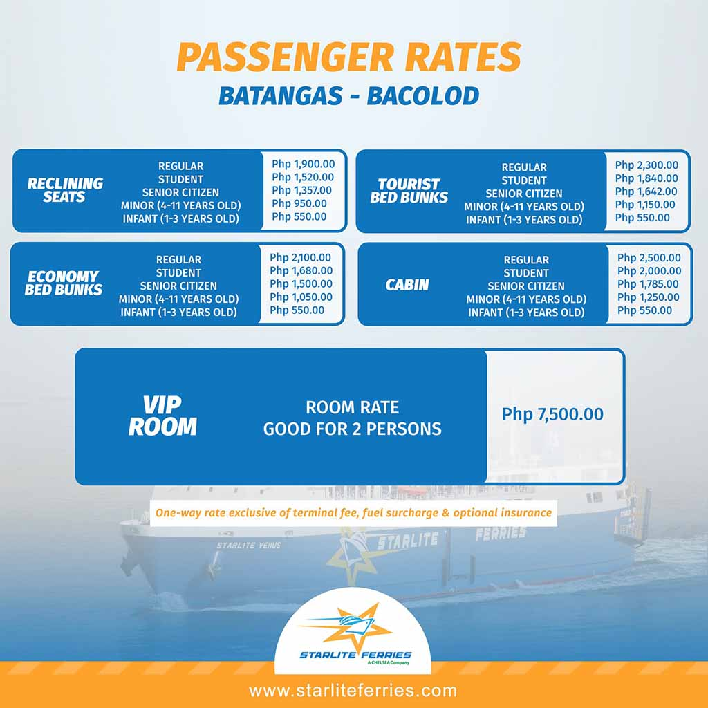 Starlite Ferries Batangas-Bacolod Fare Rates