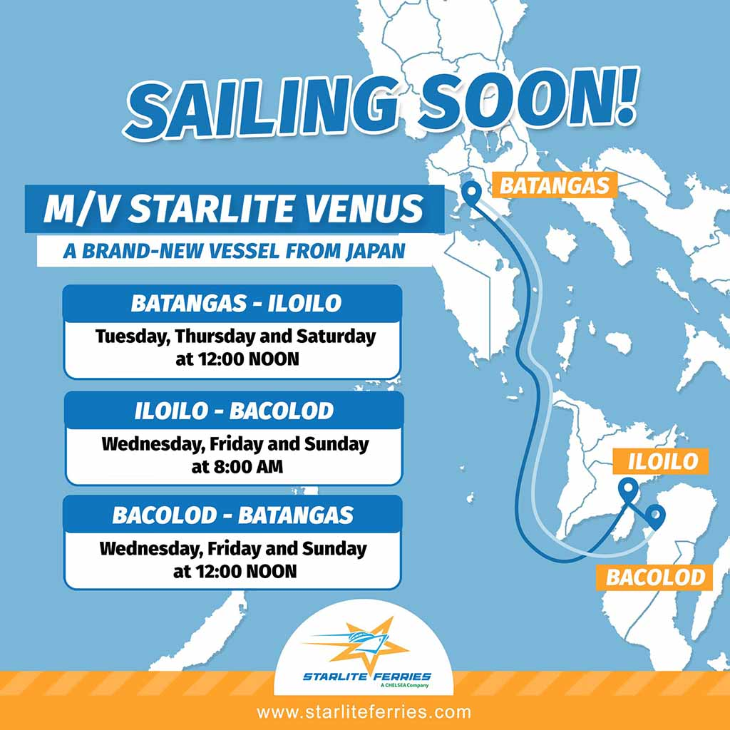 Starlite Ferries Batangas-Iloilo-Bacolod Ferry Schedule
