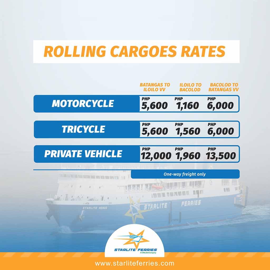 Starlite Ferries Batangas-Iloilo-Bacolod Cargo Rates