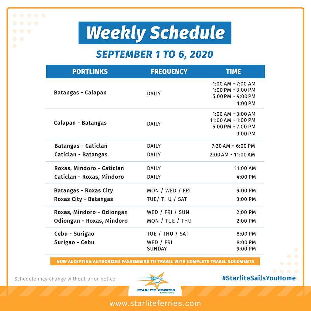 Starlite Ferries Ferry Schedule