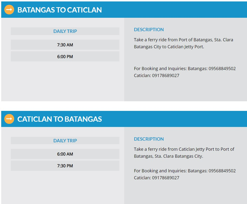 Batangas-Caticlan Ferry Schedule
