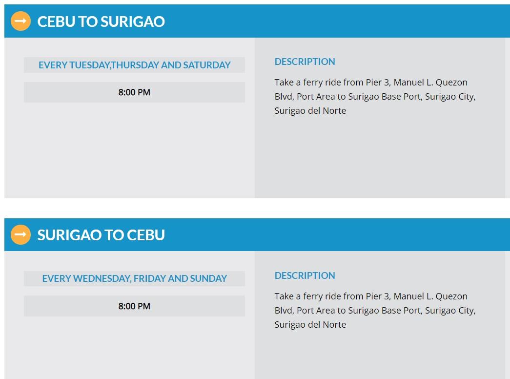 Starlite Ferries Cebu-Surigao Ferry Schedule