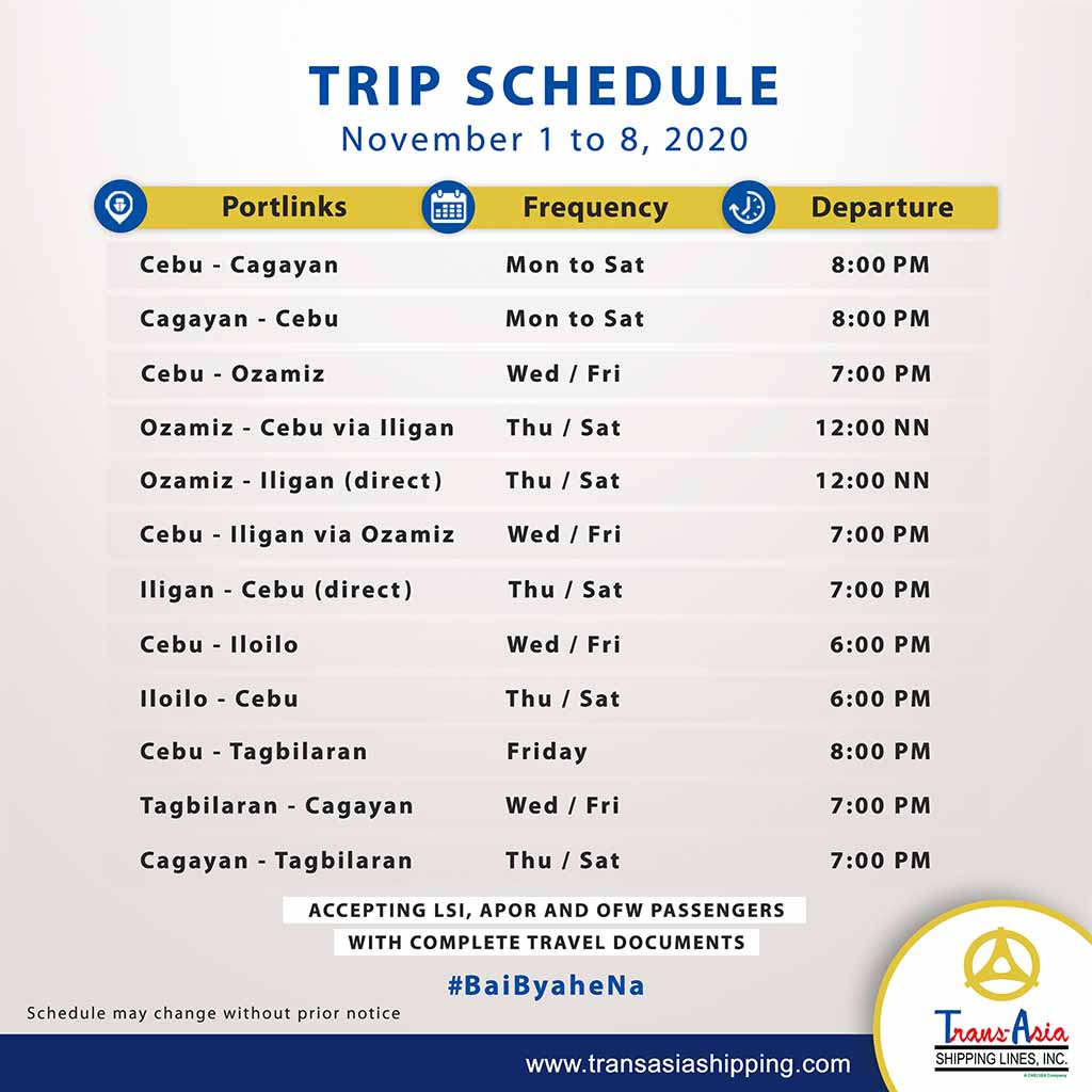 Trans-Asia List of Ferry Schedules
