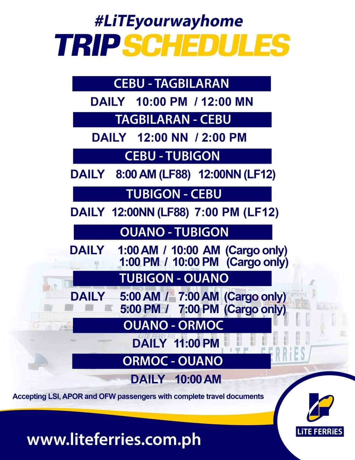 Lite Ferries Schedule of Trips