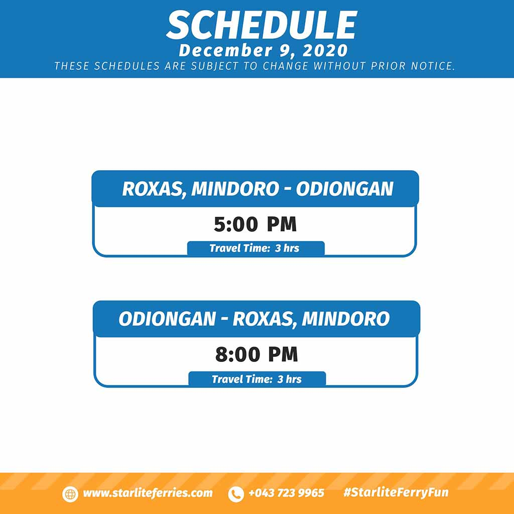 Starlite Ferries Roxas-Odiongan Schedule