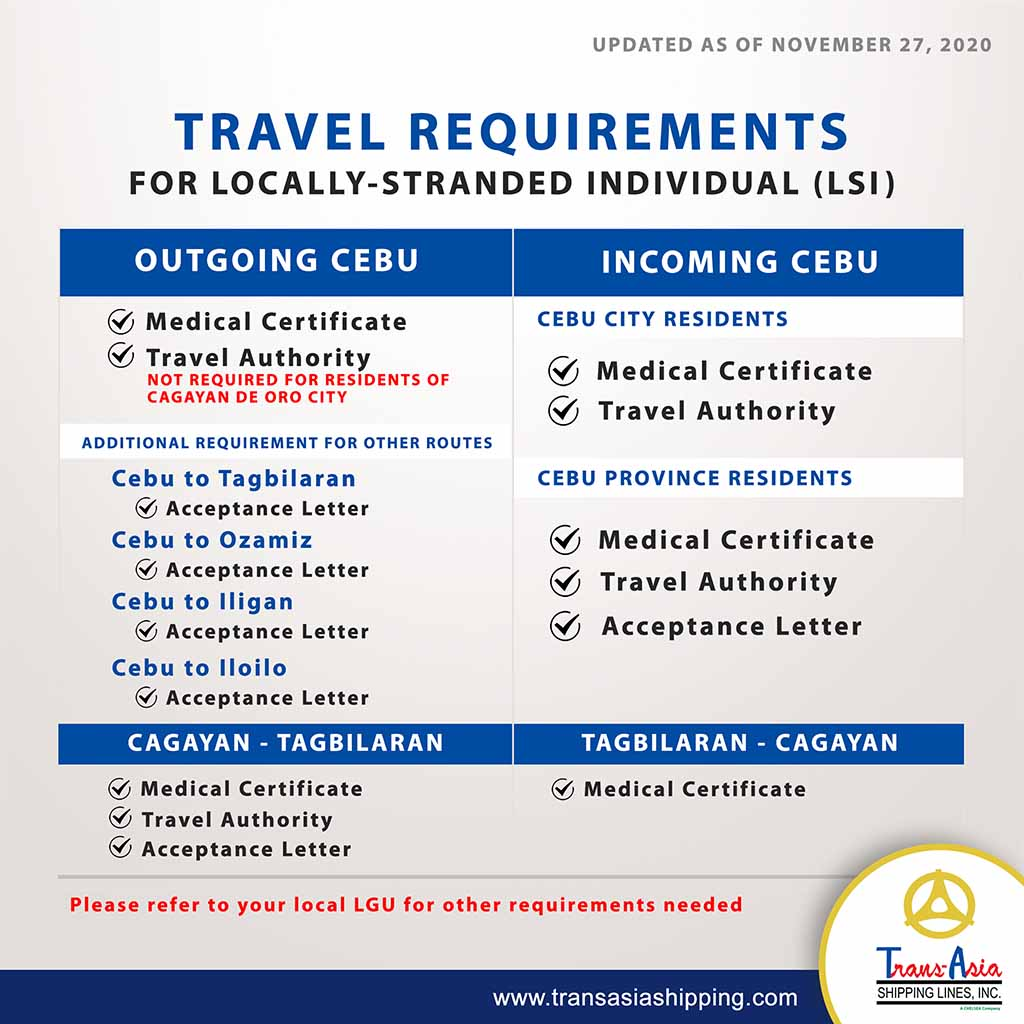 Trans-Asia LSI Travel Requirements